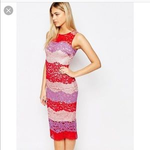 ASOS Paper Dolls Pink Purple Red Lace Fitted Dress